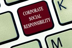 Text sign showing Corporate Social Responsibility. Conceptual photo Internal corporate policy and Ethic strategy.  royalty free stock photo