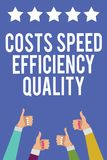 Text sign showing Costs Speed Efficiency Quality. Conceptual photo Efficient operation inputs outputs balance Men women hands thum. Bs up approval five stars vector illustration