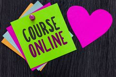 Text sign showing Course Online. Conceptual photo eLearning Electronic Education Distant Study Digital Class Papers Romantic lovel. Y message Heart Good feelings stock photos