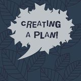 Text sign showing Creating A Plan. Conceptual photo Establish steps to follow for a project strategy to succeed Blank. Oval Color Speech Bubble with Stars as royalty free illustration