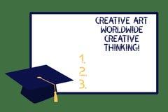 Text sign showing Creative Art Worldwide Creative Thinking. Conceptual photo Global modern creativity design Graduation cap with. Tassel Academic Scholar stock image