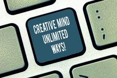 Text sign showing Creative Mind Unlimited Ways. Conceptual photo Creativity brings lots of possibilities Keyboard key. Intention to create computer message stock photo