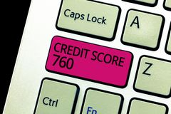 Text sign showing Credit Score 760. Conceptual photo numerical expression based on level analysis of person.  royalty free stock image