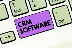 Text sign showing Crm Software. Conceptual photo Customer relationship analysisagement used to engage with customers.  royalty free stock images