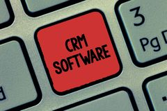 Text sign showing Crm Software. Conceptual photo Customer relationship analysisagement used to engage with customers.  stock image
