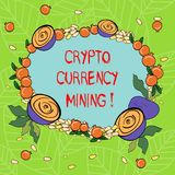 Text sign showing Crypto Currency Mining. Conceptual photo recording transaction record in the blockchain system Floral. Wreath made of Tiny Seeds Small Glossy vector illustration