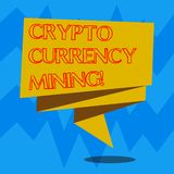 Text sign showing Crypto Currency Mining. Conceptual photo recording transaction record in the blockchain system Folded. 3D Ribbon Strip Solid Color Blank Sash stock illustration