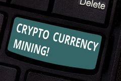 Text sign showing Crypto Currency Mining. Conceptual photo recording transaction record in the blockchain system. Keyboard key Intention to create computer stock photography