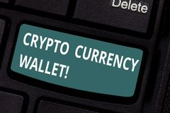 Text sign showing Crypto Currency Wallet. Conceptual photo Digital wallet that allows users to analysisage bitcoin. Keyboard key Intention to create computer royalty free stock images