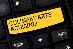 Text sign showing Culinary Arts And Cuisine. Conceptual photo Chef preparing gourmet foods excellent recipes Keyboard royalty free stock photo