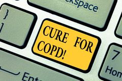 Text sign showing Cure For Copd. Conceptual photo Medical treatment over Chronic Obstructive Pulmonary Disease Keyboard. Key Intention to create computer stock images