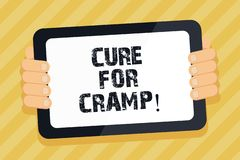 Text sign showing Cure For Cramp. Conceptual photo Medical treatment good care against some type of pains. Text sign showing Cure For Cramp. Conceptual photo vector illustration