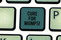 Text sign showing Cure For Mumps. Conceptual photo Medical treatment for contagious infectious disease Keyboard key. Intention to create computer message royalty free stock photo