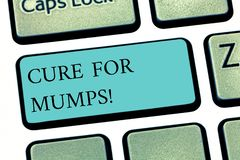 Text sign showing Cure For Mumps. Conceptual photo Medical treatment for contagious infectious disease Keyboard key. Intention to create computer message stock images