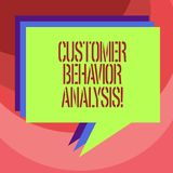 Text sign showing Customer Behavior Analysis. Conceptual photo buying behaviour of consumers who use goods Stack of. Speech Bubble Different Color Blank vector illustration