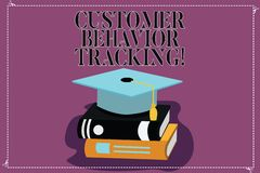 Text sign showing Customer Behavior Tracking. Conceptual photo Action that a user takes related to your company Color. Graduation Hat with Tassel 3D Academic stock illustration