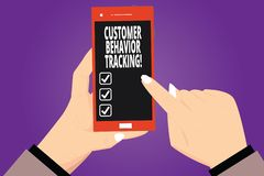 Text sign showing Customer Behavior Tracking. Conceptual photo Action that a user takes related to your company Hu analysis Hands. Holding Pointing Touching stock illustration