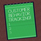 Text sign showing Customer Behavior Tracking. Conceptual photo Action that a user takes related to your company Lined. Spiral Top Color Notepad photo on stock illustration