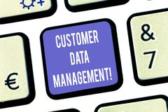 Text sign showing Customer Data Management. Conceptual photo Keep track and analysisage customers information Keyboard. Key Intention to create computer message royalty free stock image