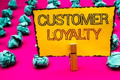 Text sign showing Customer Loyalty. Conceptual photo Client Satisfaction Long-Term relation Confidence Clothespin hold holding yel. Low paper black red letters royalty free stock images