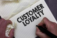 Text sign showing Customer Loyalty. Conceptual photo result of consistently positive emotional experience Man holding marker noteb. Ook crumpled papers ripped royalty free stock image