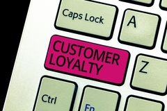 Text sign showing Customer Loyalty. Conceptual photo result of consistently positive emotional experience.  stock photo