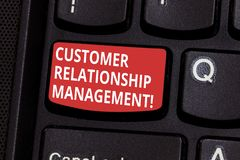 Text sign showing Customer Relationship Management. Conceptual photo analysisage and analyze customer interactions. Keyboard key Intention to create computer royalty free stock images