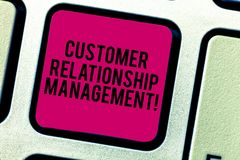 Text sign showing Customer Relationship Management. Conceptual photo analysisage and analyze customer interactions. Keyboard key Intention to create computer royalty free stock image