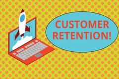 Text sign showing Customer Retention. Conceptual photo Keeping loyal customers Retain analysisy as possible Rocket. Text sign showing Customer Retention vector illustration