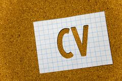 Text sign showing Cv. Conceptual photo Curriculum Vitae Resume Infographics Job Searching Employee Recruitment Cork background not. Ebook paper ideas messages royalty free stock photo