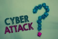 Text sign showing Cyber Attack. Conceptual photo An attempt by hackers to Damage Destroy a Computer System Crumpled papers forming. Question mark several tries stock images