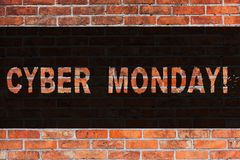 Text sign showing Cyber Monday. Conceptual photo Special sales after Black Friday Online Shopping Ecommerce Brick Wall royalty free stock image