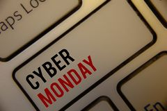 Text sign showing Cyber Monday. Conceptual photos Special sales after Black Friday Online Shopping E-commerce. Text sign showing Cyber Monday. Conceptual photo Royalty Free Stock Photo