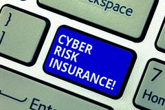Text sign showing Cyber Risk Insurance. Conceptual photo covers financial losses that result from data breaches Keyboard. Key Intention to create computer stock photography