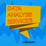 Text sign showing Data Analysis Services. Conceptual photo an analytical data engine used in decision support Folded 3D Ribbon. Strip Solid Color Blank Sash royalty free illustration