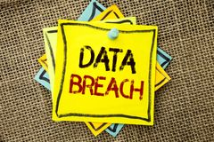 Text sign showing Data Breach. Conceptual photo Stolen Cybercrime Information Hacking Security Malicious Crack written on Sticky N. Text sign showing Data Breach Royalty Free Stock Images