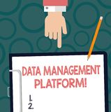 Text sign showing Data Management Platform. Conceptual photo Type of centralized tech platform that gathers data Hu analysis Hand. Pointing Down to Clipboard royalty free stock images
