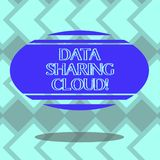 Text sign showing Data Sharing Cloud. Conceptual photo using internet technologies to share files between users Blank. Color Oval Shape with Horizontal Stripe vector illustration