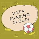 Text sign showing Data Sharing Cloud. Conceptual photo using internet technologies to share files between users Soccer. Ball on the Grass and Blank Outlined royalty free illustration