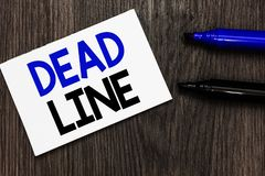 Text sign showing Dead Line. Conceptual photo Period of time by which something must be finished or accomplished Important idea id. Eas notebook marker markers Stock Photo