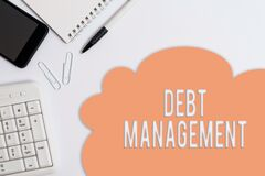 Free Text Sign Showing Debt Management. Conceptual Photo The Formal Agreement Between A Debtor And A Creditor Business Concept With Stock Photography - 181493592