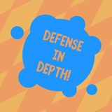 Text sign showing Defense In Depth. Conceptual photo arrangement defensive lines or fortifications defend others Blank. Deformed Color Round Shape with Small stock illustration