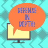 Text sign showing Defense In Depth. Conceptual photo arrangement defensive lines or fortifications defend others Mounted. Computer Monitor Blank Screen with vector illustration