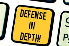 Text sign showing Defense In Depth. Conceptual photo arrangement defensive lines or fortifications defend others. Keyboard key Intention to create computer vector illustration
