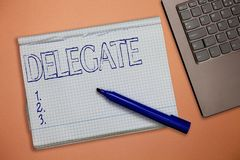 Text sign showing Delegate. Conceptual photo demonstrating sent or authorized represent others particular conference royalty free stock photography