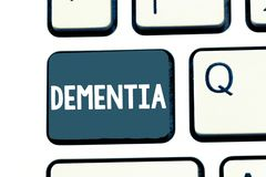 Text sign showing Dementia. Conceptual photo Impairment in memory Loss of cognitive functioning Brain disease.  stock photography
