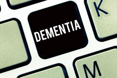 Text sign showing Dementia. Conceptual photo Impairment in memory Loss of cognitive functioning Brain disease.  royalty free stock image