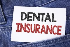 Text sign showing Dental Insurance. Conceptual photo Dentist healthcare provision coverage plans claims benefit written on Sticky. Text sign showing Dental Royalty Free Stock Photo