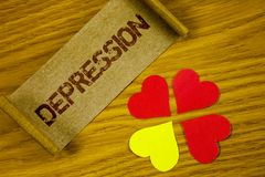 Text sign showing Depression. Conceptual photo Work stress with sleepless nights having anxiety disorder written on Folded Cardboa. Text sign showing Depression stock image