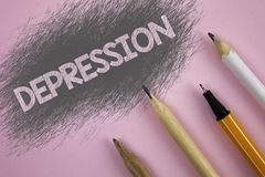 Text sign showing Depression. Conceptual photo Work stress with sleepless nights having anxiety disorder written on Pink backgroun. Text sign showing Depression royalty free stock photography